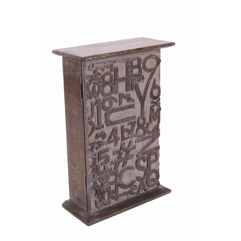 Wood Key Cabinet - Words-A/Gry