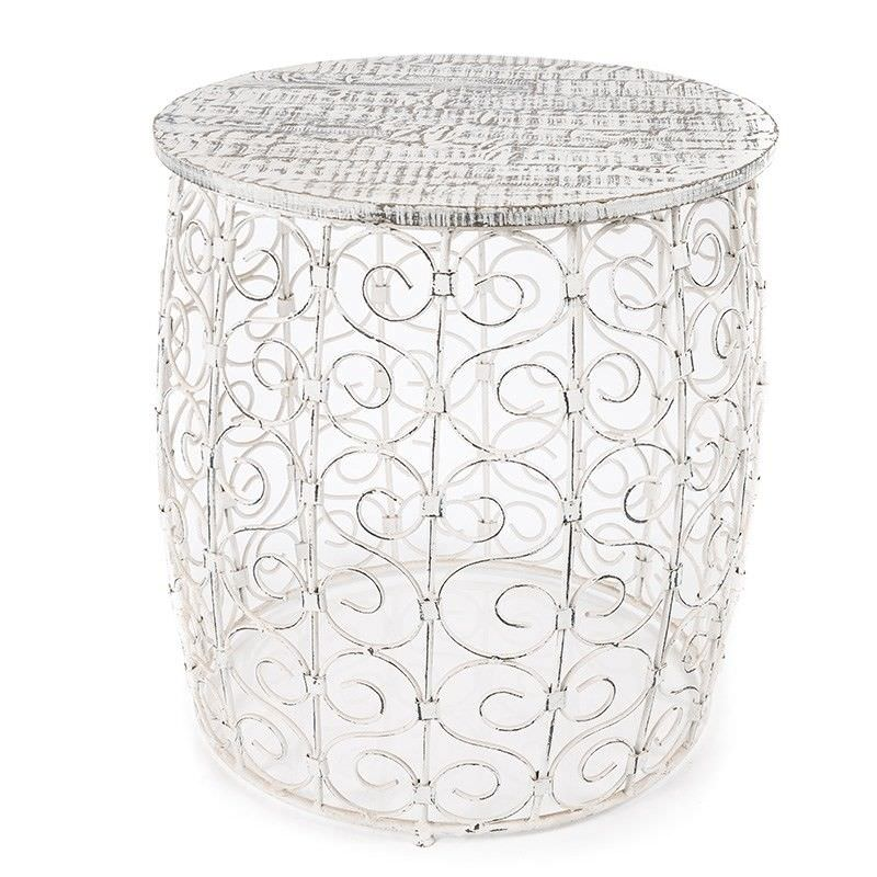 Gaya Swirl Metal Wire Garden Table with Timber Top, White Wash