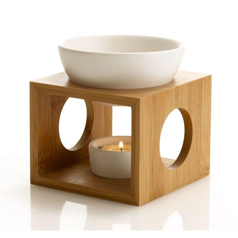 Oil Burner Set w/ Bamboo Holder - White - 12 x 12 x 9.5cm