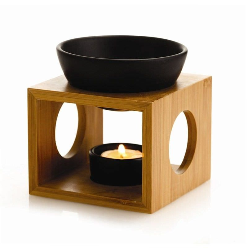 Oil Burner Set w- Bamboo Holder - Black - 12 x 12 x 9.5cm
