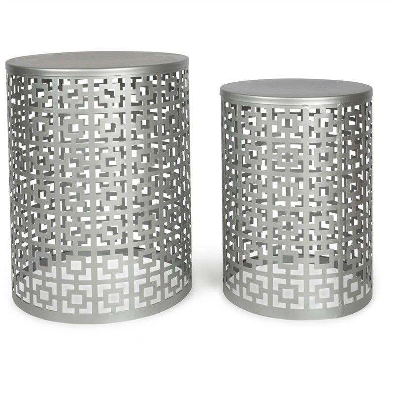 Rashmi 2 Piece Cutout Iron Side Table Set Silver