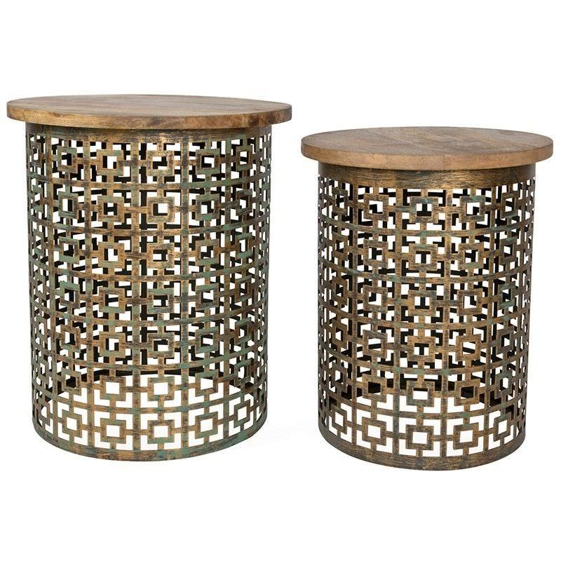 Temara 2 Piece Timber Top Cutout Iron Side Table Set - Antique Gold