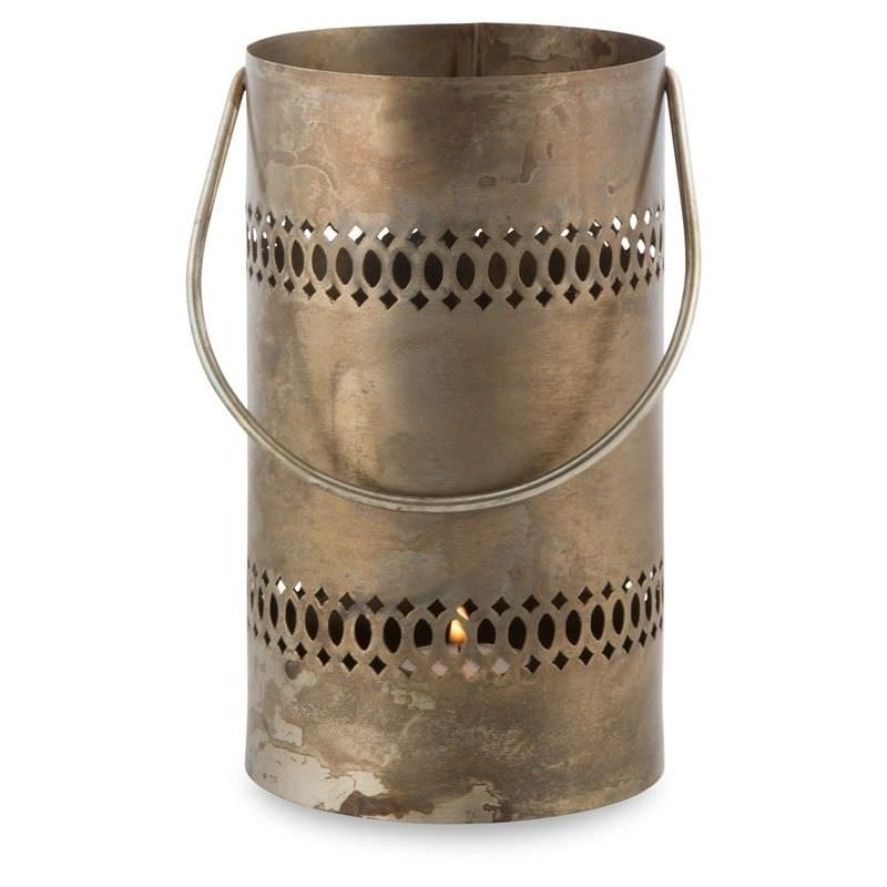 Shivani Iron Cylindrical Tealight Holder - Burnt Nickel