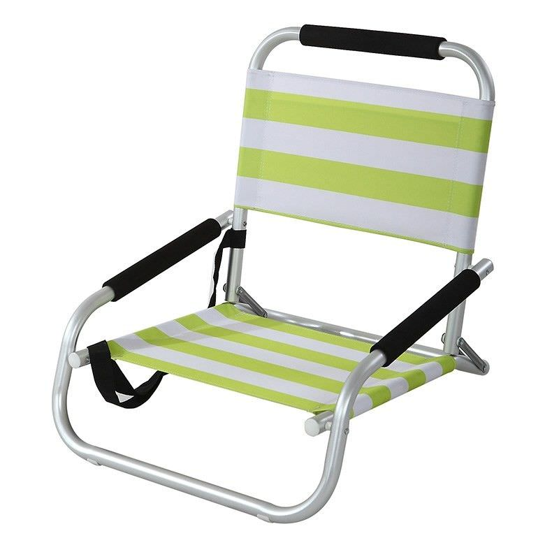 Satin Aluminium and Fabric Beach Chair - Lime Green and White