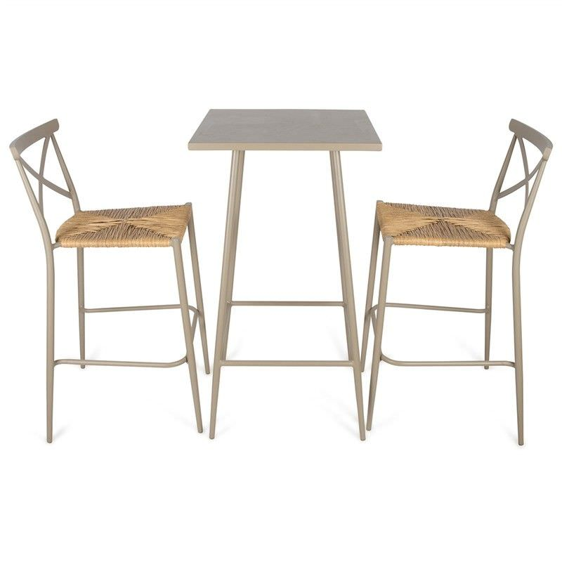 Monans 3 Piece Aluminium Indoor/Outdoor Bar Table Set, Taupe