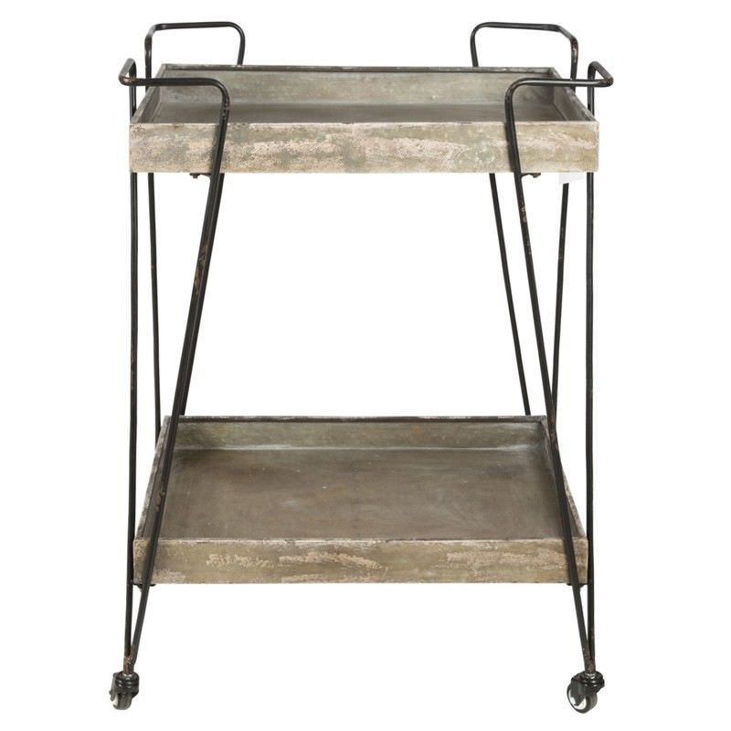 Mulion 2 Tier Iron Butler Trolley - Distressed Grey