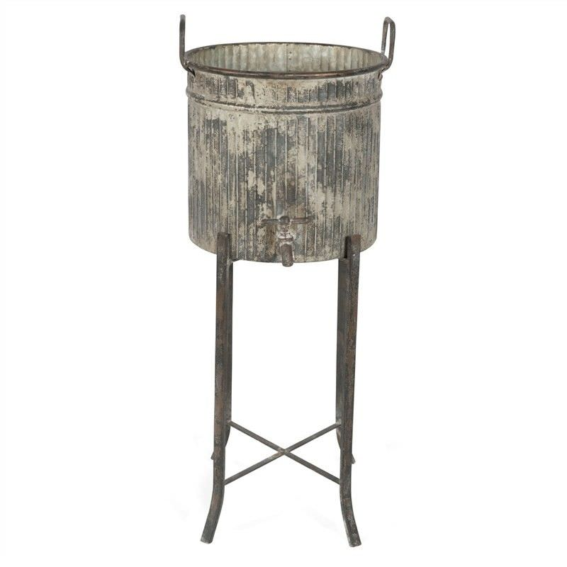 Mulion Iron Planter / Party Bucket on Stand - Distressed Grey