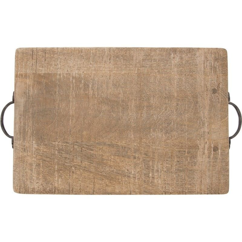 Eplica Solid Mango Wood Timber Rectangular Serving Board with Iron Handles