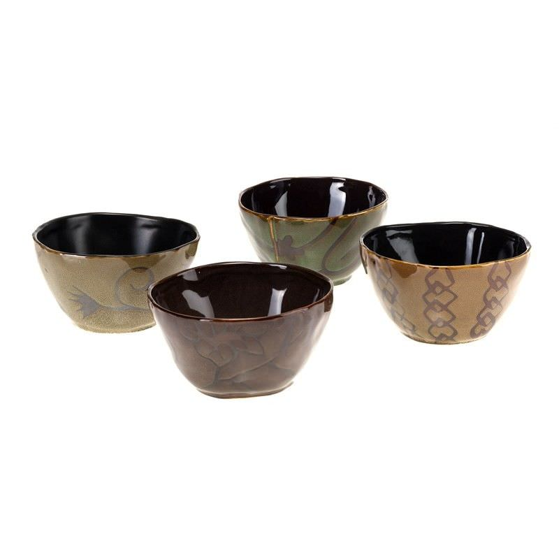 Set of 4 Glazed Ceramic Bowls - Brown