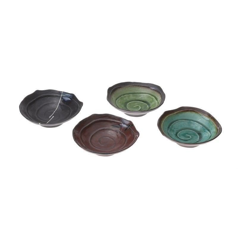 Set of 4 Glazed Ceramic Dipping Dishes -Brown
