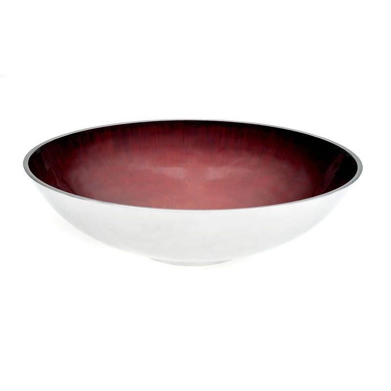 40cm Brushed Aluminium Round Bowl - Red