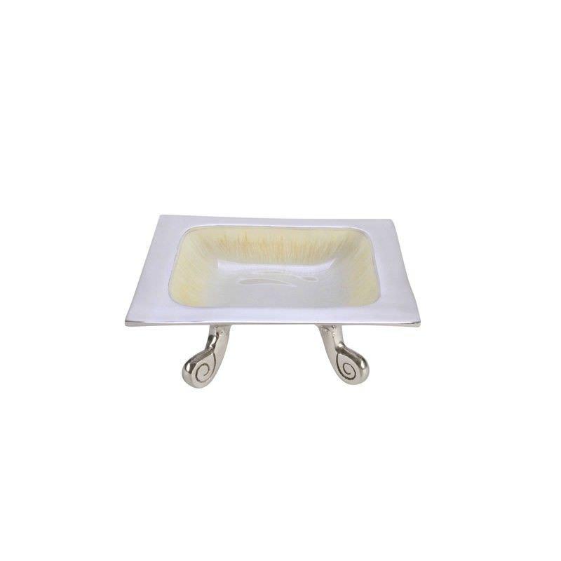 Lorenzo Enamelled Aluminium Square Footed Bowl, Cream