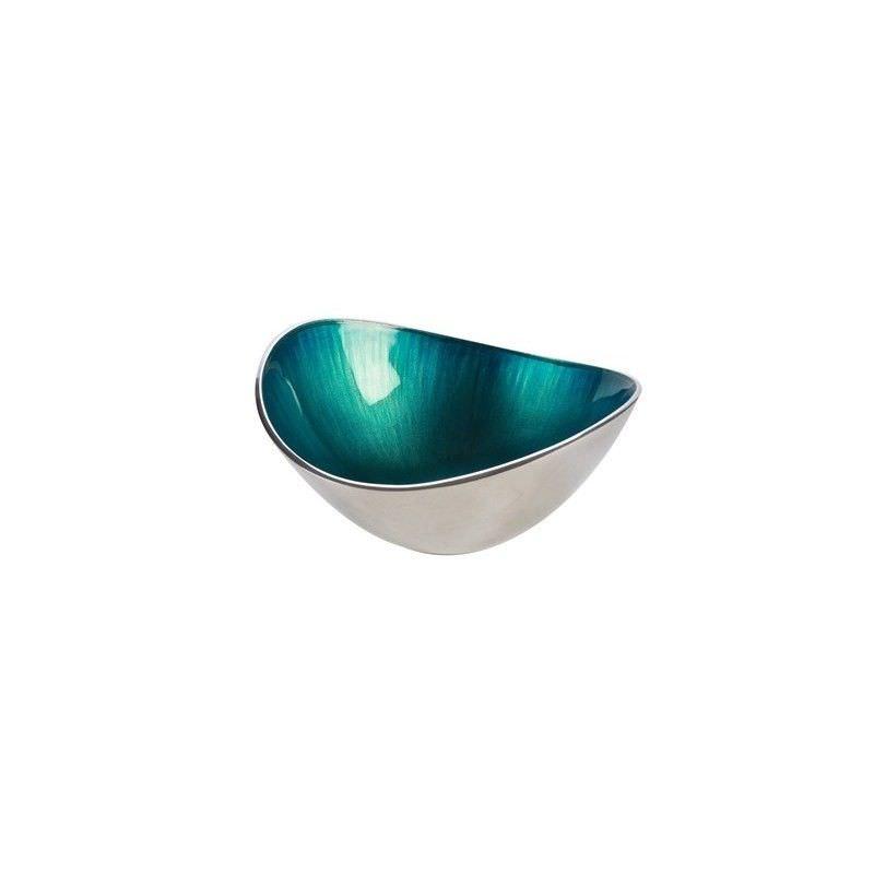 Lorenzo Enamelled Aluminium Oval Bowl, Small, Aqua