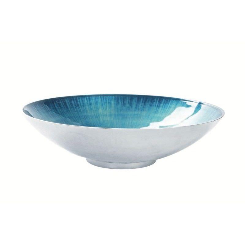 Lorenzo Enamelled Aluminium Salad Bowl, Aqua