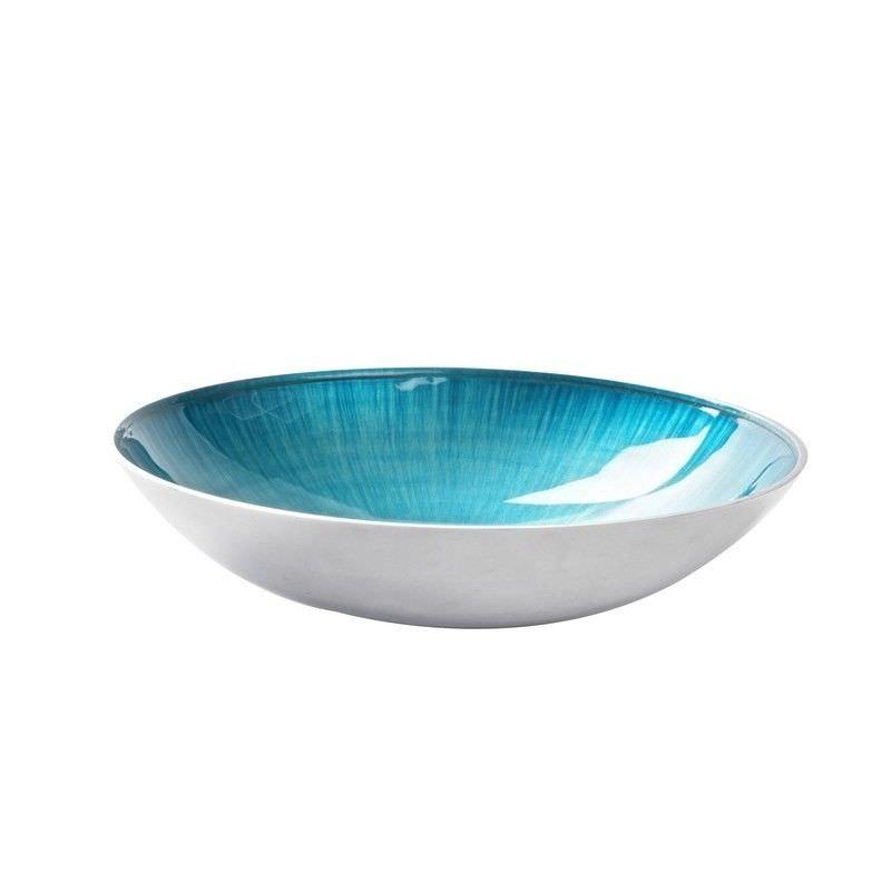 Lorenzo Enamelled Aluminium Round Bowl, Medium, Aqua