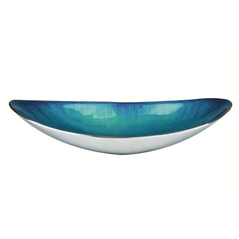 Lorenzo Enamelled Aluminium Oval Bowl, Large, Aqua