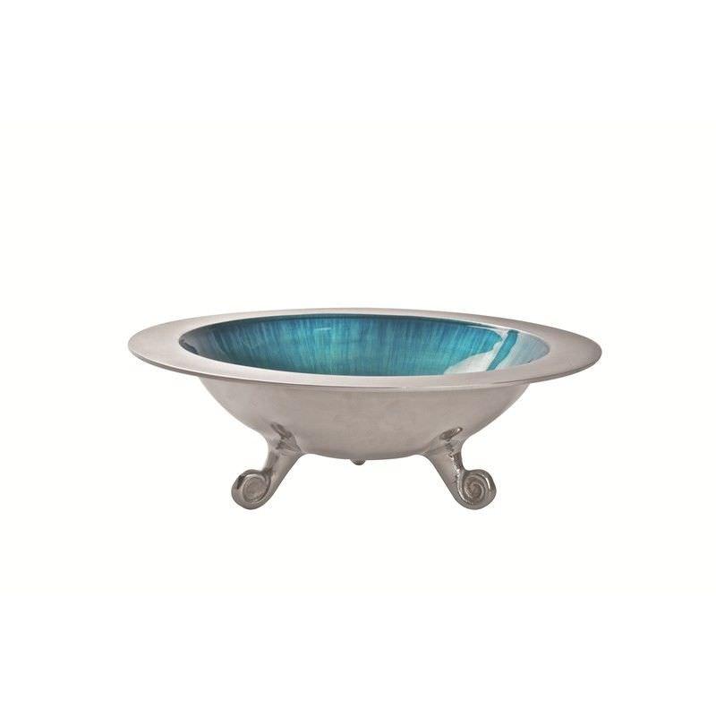 Lorenzo Enamelled Aluminium Round Footed Bowl, Aqua