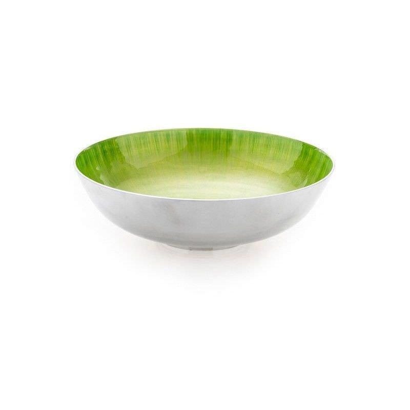 Lorenzo Enamelled Aluminium Round Bowl, Large, Lime