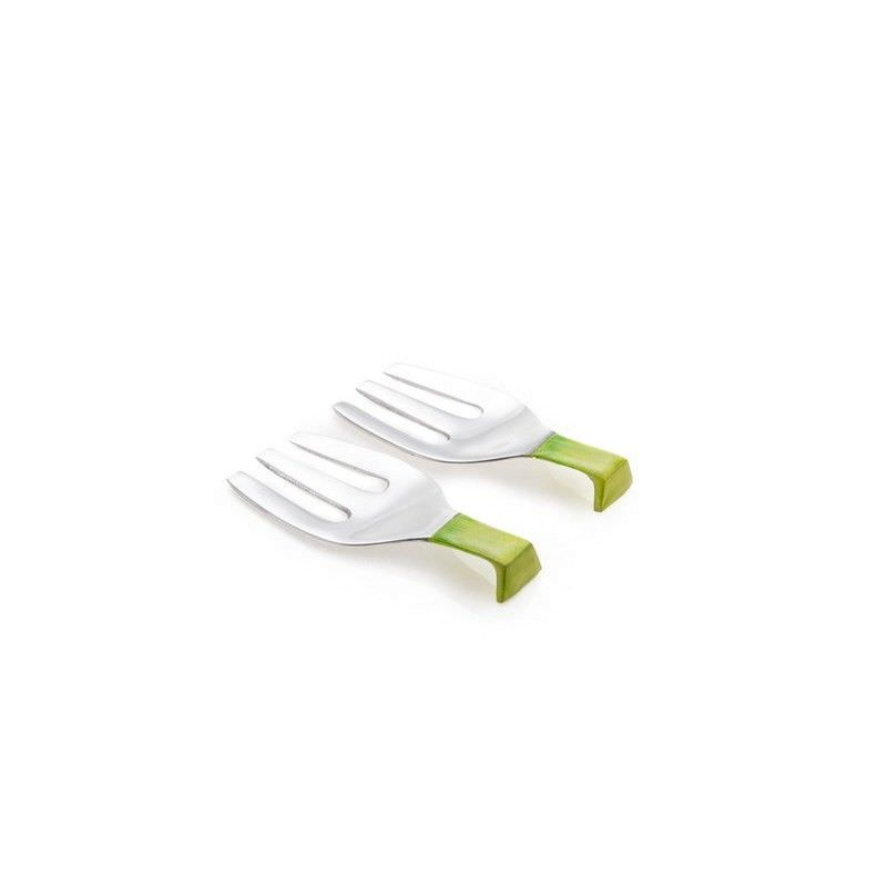 Set of 2 Enamel Brushed Aluminium Short Salad Servers in Lime Green