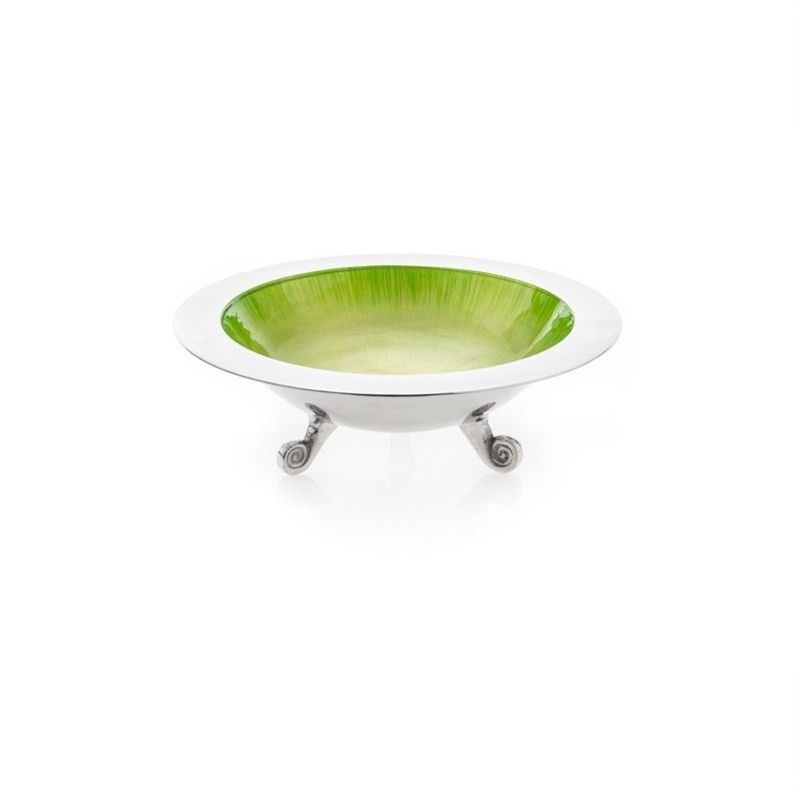 Enamel Brushed Aluminium Round Bowl with Feet in Lime Green