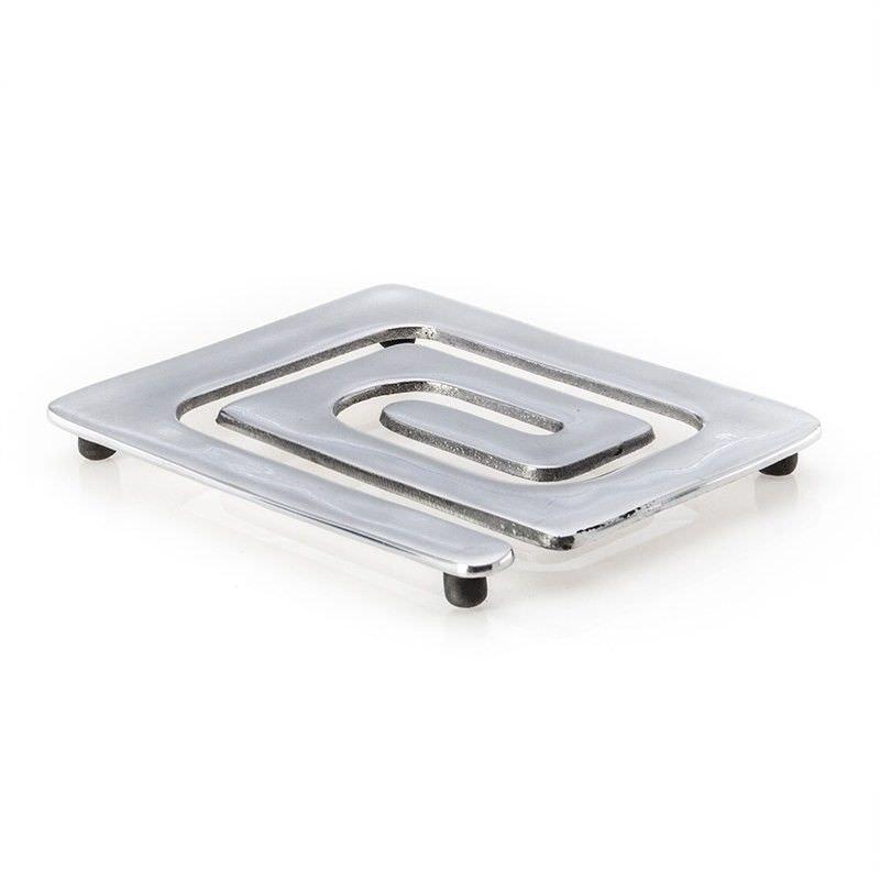 Silver Polished Aluminium Large Coaster - Pattern A