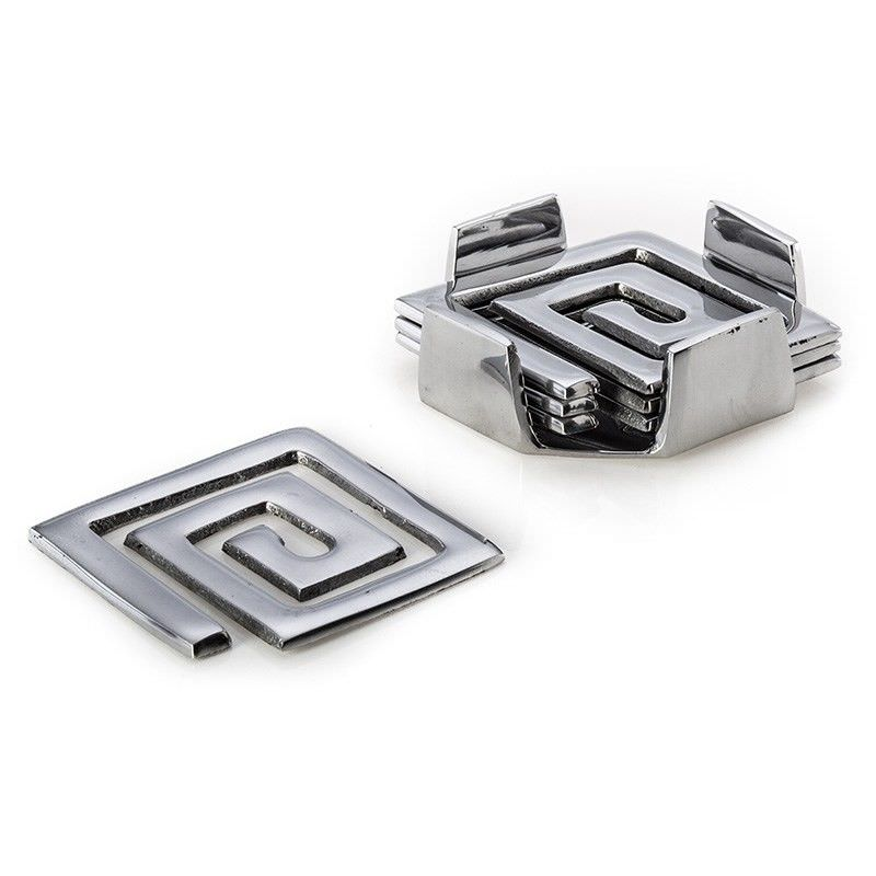 Silver Polished Aluminium Coasters - Pattern A
