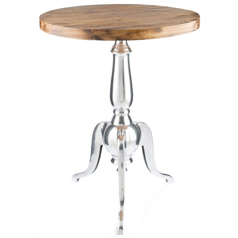 Admaston Mango Wood Timber & Aluminium Round Side Table - Large