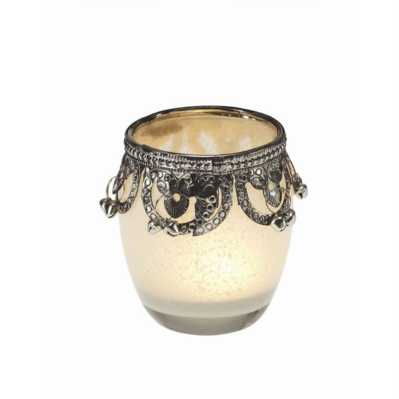 Glass Candle Holder (S)-Cream - 9.5x9cm - Filligri top