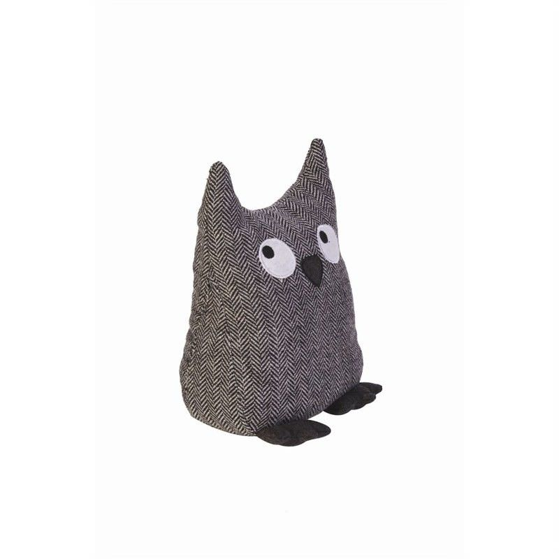 Fabric Owl Door Stop-Drk Grey