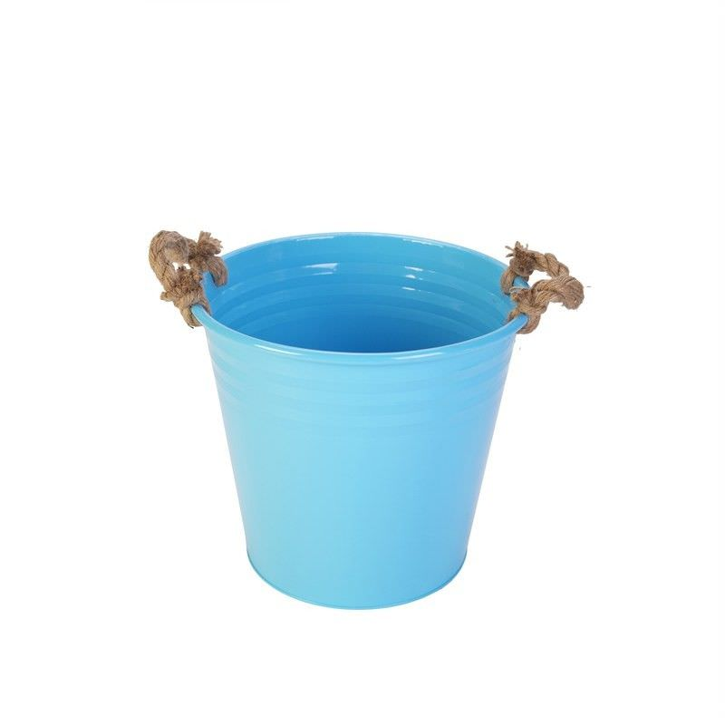 Metal Ice Bucket with Rope - Blue
