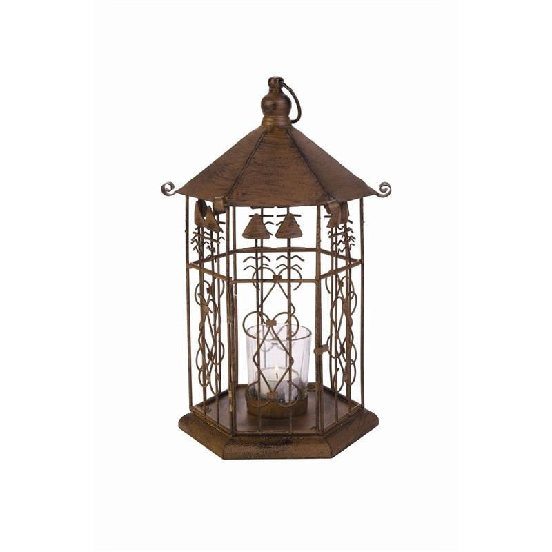 Metal Bird Cage Tealight Holder in Antique Brown - H31xD45cm