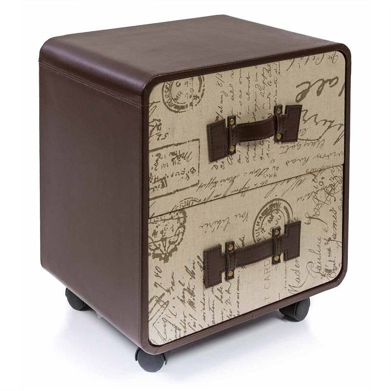 Parisienne Linen and Faux Leather Upholstered Wooden Cabinet