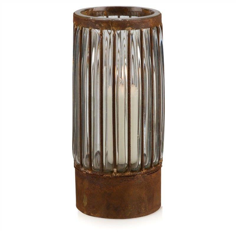 Cronus Rustic Iron & Glass Pillar Candle Holder - Medium