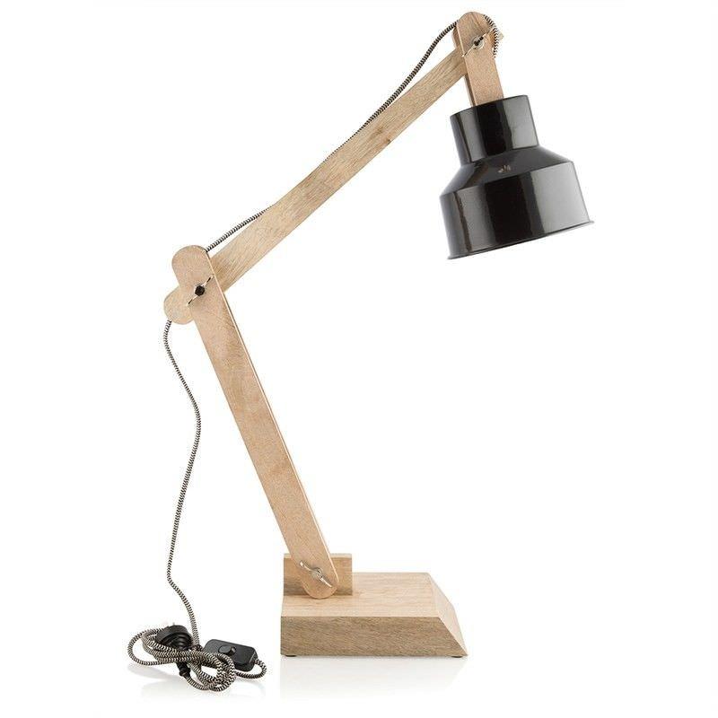 Chelsea Iron Shade Solid Timber Adjustable Desk Lamp - Black/Natural