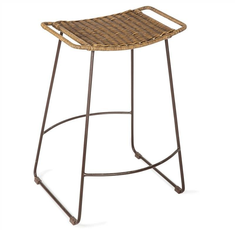 Surya Metal Counter Stool with Rattan Seat