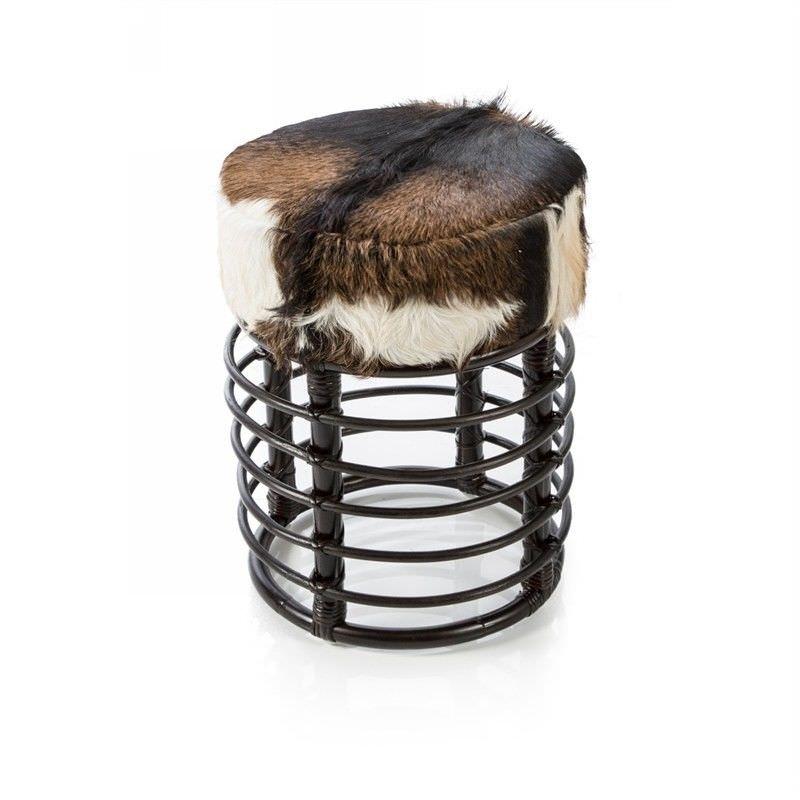 Rangge Round Rattan Stool with Goat Hide Seat, Chocolate