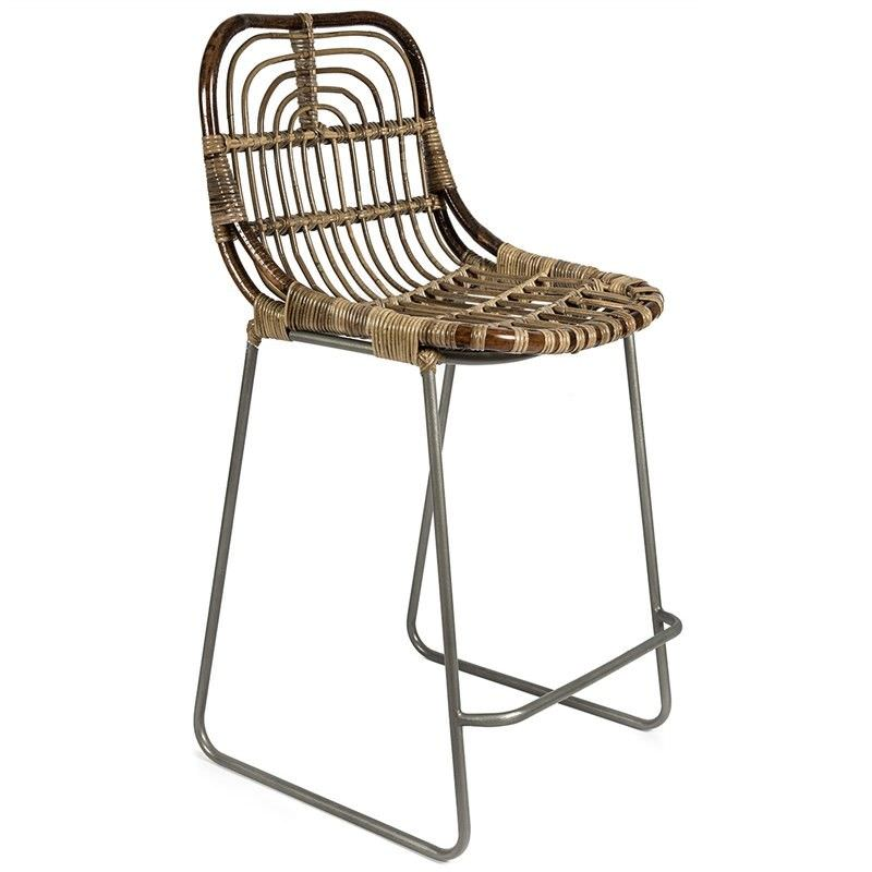 Buton Distressed Rattan Bar Chair, Natural