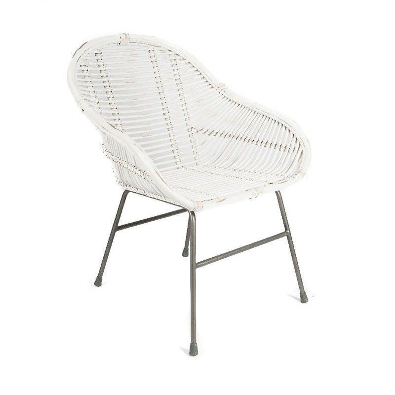 Melta Distressed Rattan Dining Armchair