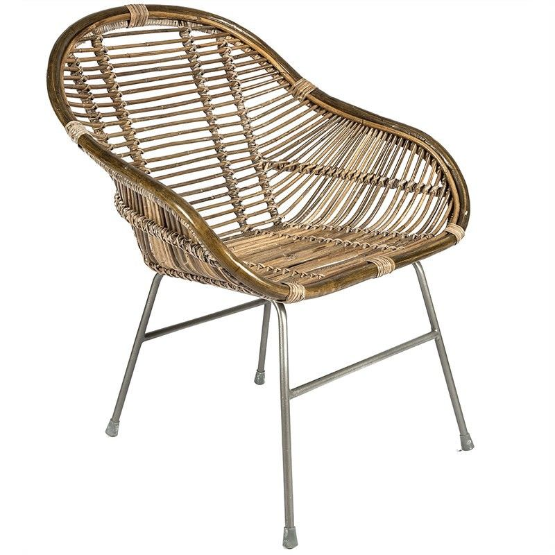 Malta Distressed Rattan Armchair, Natural