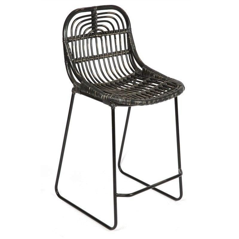 Buton Distressed Rattan Bar Chair, Black