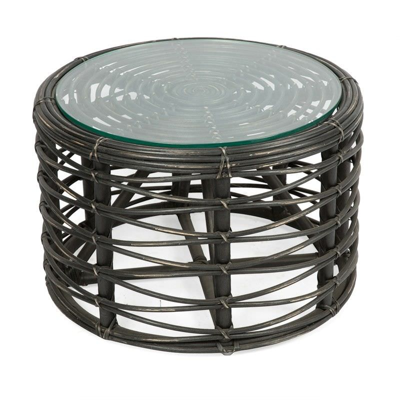 Lenkawe Distressed Rattan 60cm Round Coffee Table with Glass Top, Black