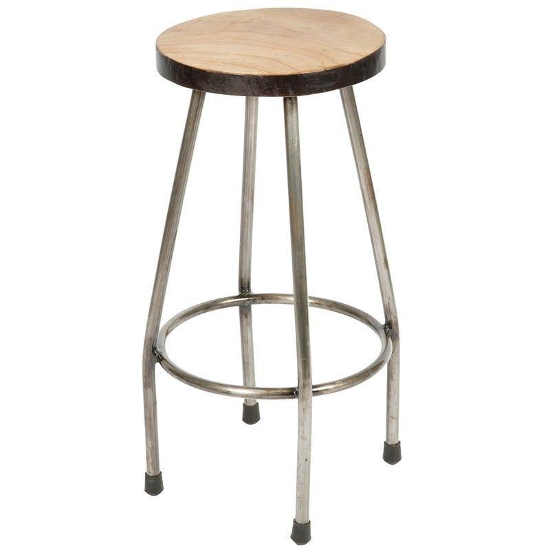 Pungga Metal Round Counter Stool with Wooden Seat