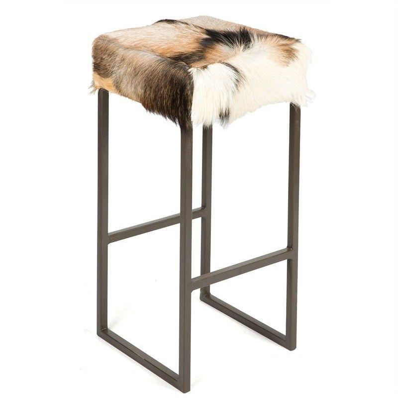 Piroba Square Metal Bar Stool with Goat Hide Seat - Dark Brown