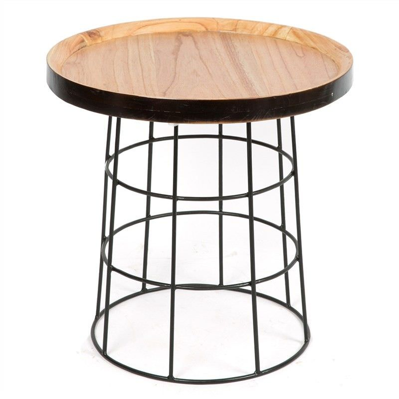 Jaha Solid Timber Tray Top Metal Occasional Table - Black