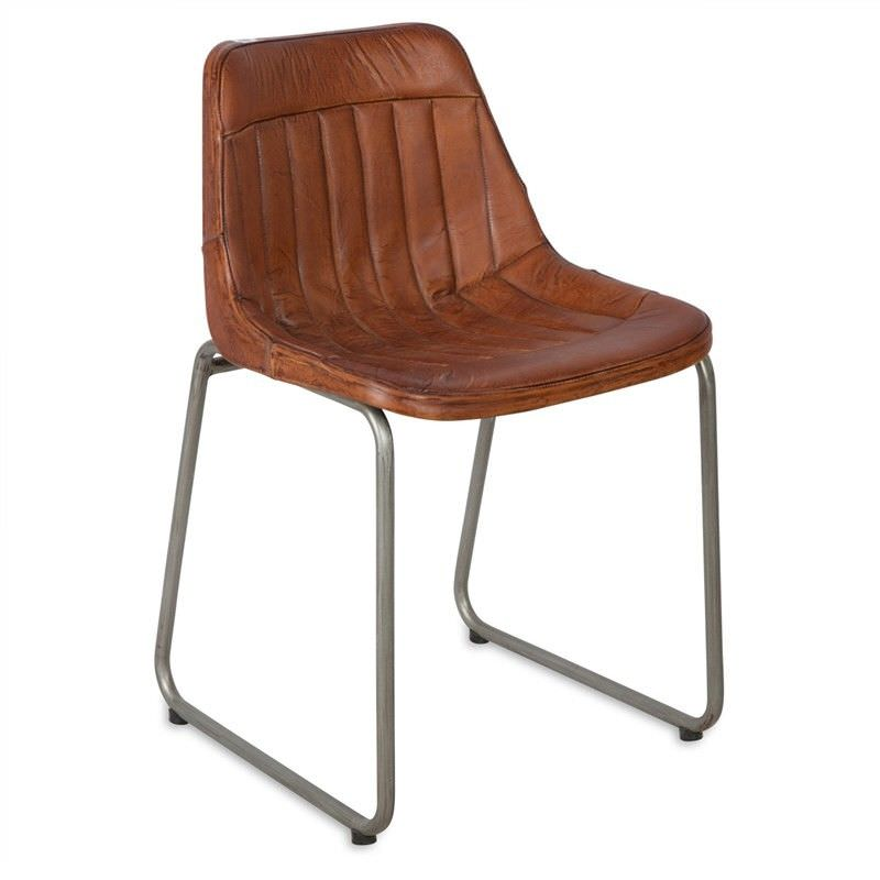 Meolo Leather and Iron Side Chair - Brown