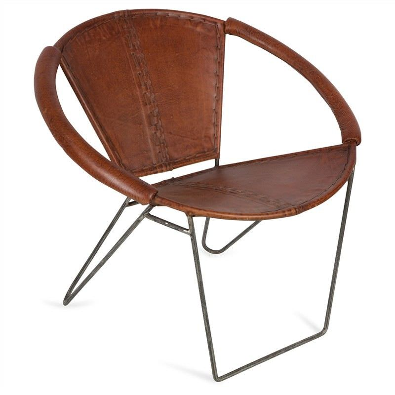 Cheney Leather and Iron Accent Armchair - Brown