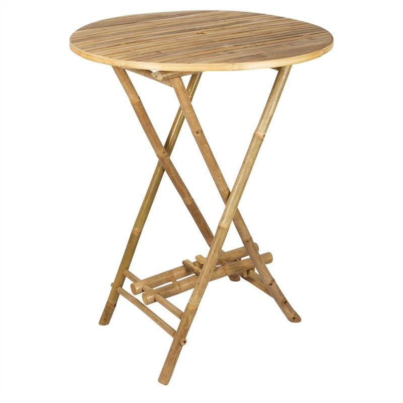 Allison Bamboo 90cm Round Bar Table With Umbrella Hole