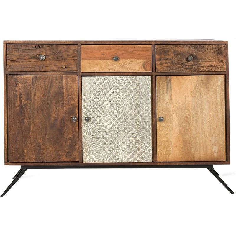 Candence Solid Timber 3 Door 3 Drawer 130cm Sideboard