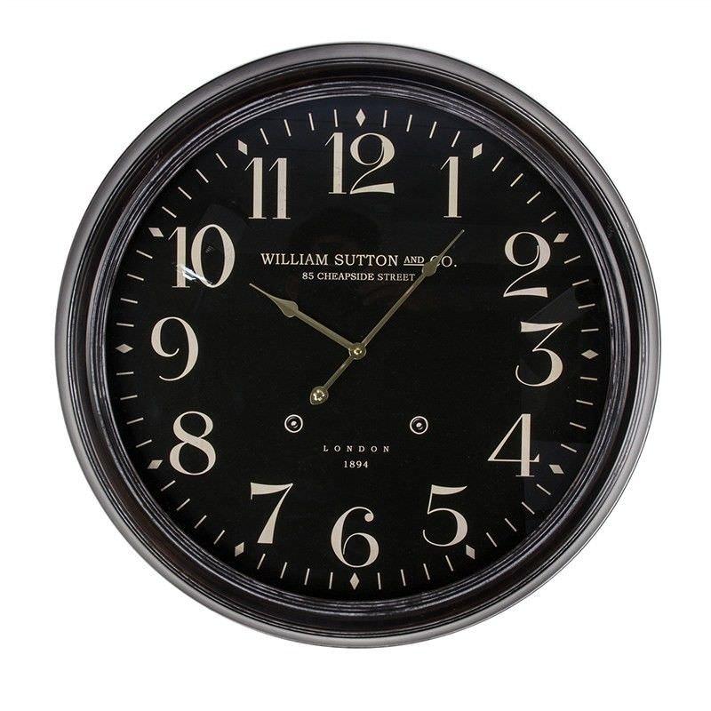 Black William Sutton London Iron Wall Clock