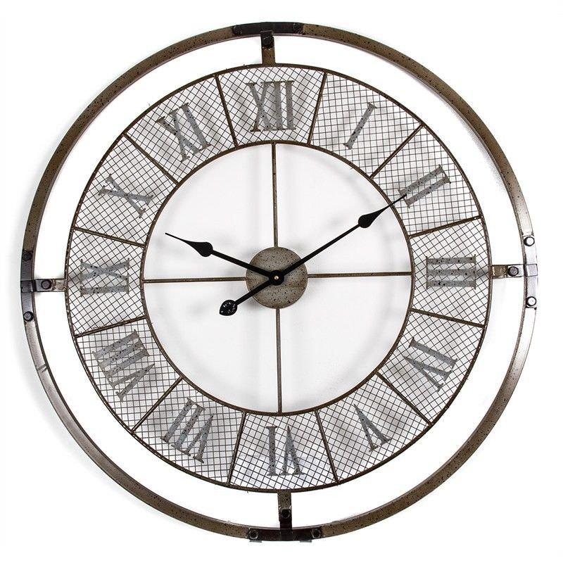 80cm Antique Bronze Roman Numeral Metal Mesh Wall Clock